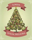 Vintage christmas tree poster template