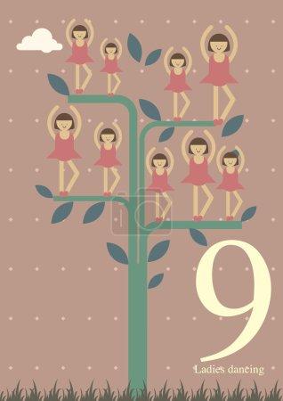 Illustration pour Douze jours de neuf dames de Noël - neuvième jour de Noël - danse - image libre de droit