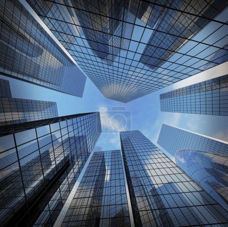 Photo pour Fond de verre highrise immeuble gratte-ciel, concept d'entreprise moderne ville commerciale futuriste de l'architecture industrielle réussie - image libre de droit