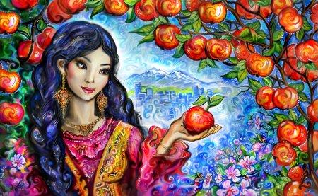 Almaty city apples, Kazakh girl named Alma