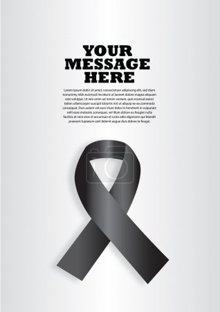 Illustration for Vector illustration of a black ribbon on silver background. Layout design with copy space for campaign advertisement and poster. - Royalty Free Image