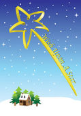 Vector illustration of a winter landscape and a huge yellow shooting star Wish Upon A Star Christmas concept