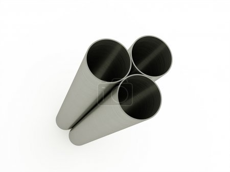 Three steel pipe isolated