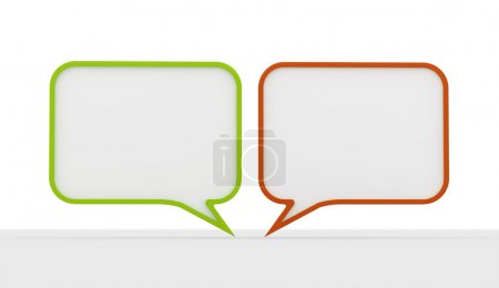 Photo for Green and red speech bubbles on white background - Royalty Free Image