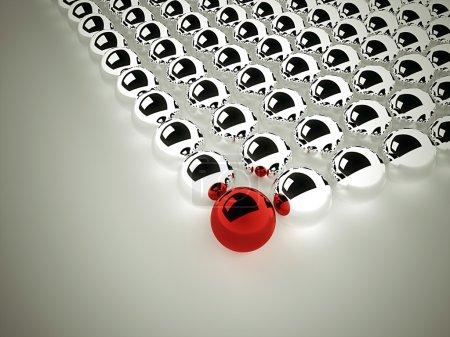 Foto de Esfera cromada abstracta un rojo - Imagen libre de derechos