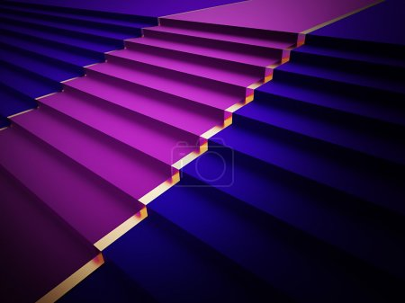 Photo for Blue stairs with purple carped - Royalty Free Image