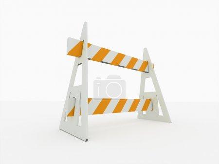 Foto de Barrera de bloqueo vial en perspectiva sobre fondo blanco - Imagen libre de derechos