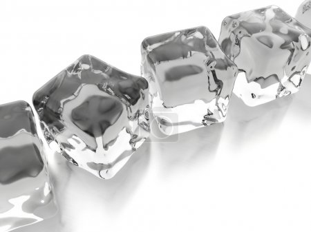Photo for Ice cubes rendered on white background - Royalty Free Image