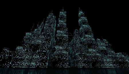 Photo for Night city panorama with blue lights - Royalty Free Image