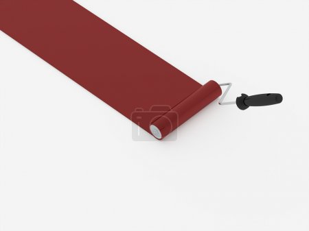 Paint roller with red stroke