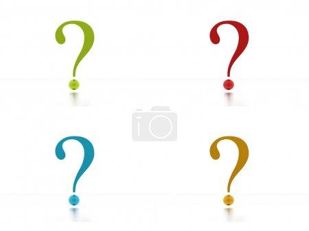 Foto de Cuatro colores signos de interrogación sobre fondo blanco - Imagen libre de derechos