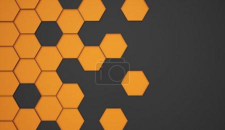 Orange abstract hexagonal background