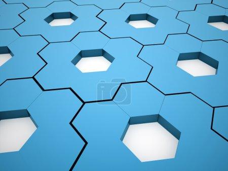 Blue hexagonal gears