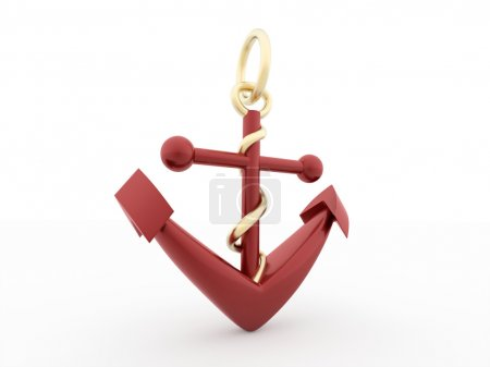 Red anchor concept isolated