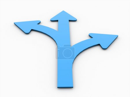 Tree blue arrows concept isolated