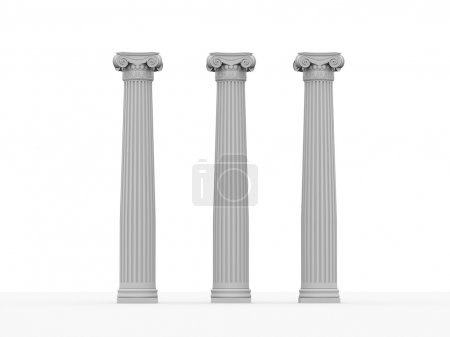 Photo for Three historical columns on white background - Royalty Free Image