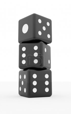 Three vertical black dices isolated