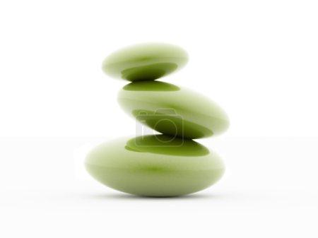 Photo pour Galets harmonie vert isolés sur fond blanc - image libre de droit