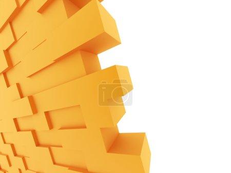 Photo for Orange brick wall on white background - Royalty Free Image