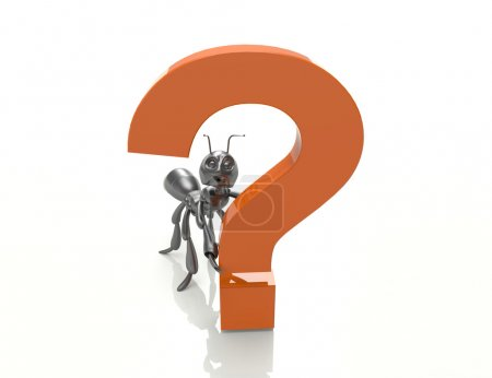 Question mark with black ant