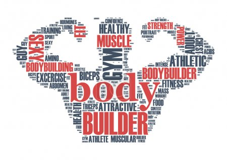 Body Builder word cloud tag concept in vector illustration