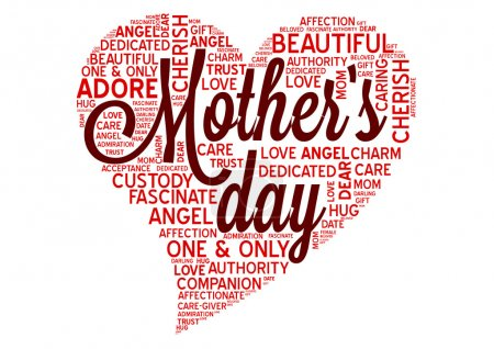 Illustration for Mothers day word cloud tag concept in vector - Royalty Free Image