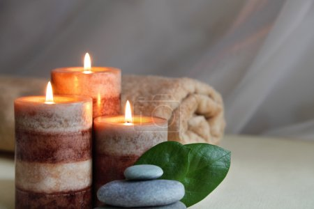 Candles and Massage Stones in Zen Spa