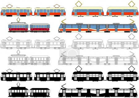Illustration for Trams that travel in Europe, small and large. They are drawn in color or as silulety, or black and white. - Royalty Free Image