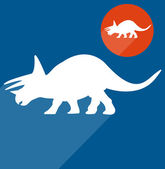 Triceratops Dinosaur silhouette on blue  background