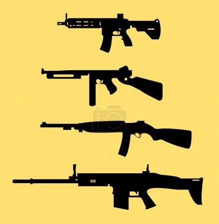 Weapon icon set On color background...