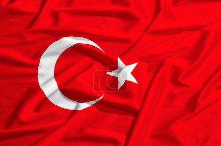 Turkey flag on a silk drape waving