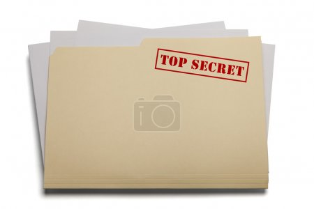 Photo for Folder and papers with the words Top Secret stamped on it, Isolated on a white background. - Royalty Free Image