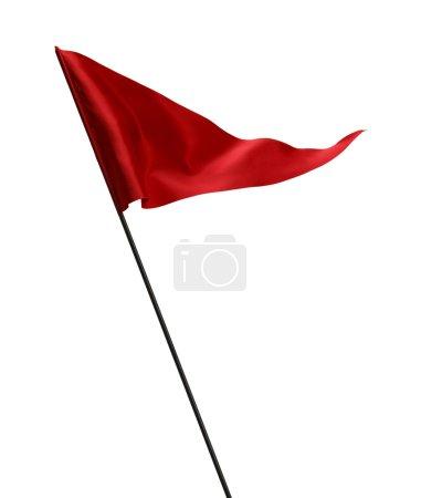 Photo pour Drapeau rouge au vent sur poteau isolé sur fond blanc. - image libre de droit