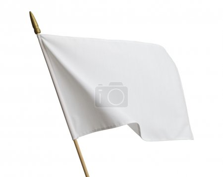 Photo pour Drapeau blanc de blanc vent isolée on White Background. - image libre de droit