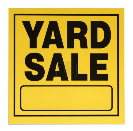 Photo for Yellow and black yard sale sign with copy space isolated on a white background. - Royalty Free Image