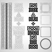 Set of Celtic knots patterns frameworks Vector illustration
