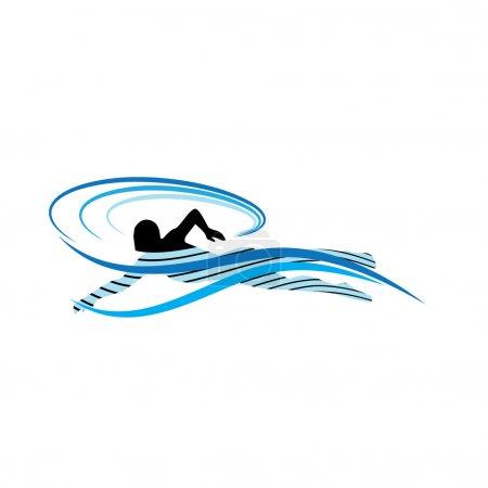 Illustration pour Nageur parmi les vagues - image libre de droit