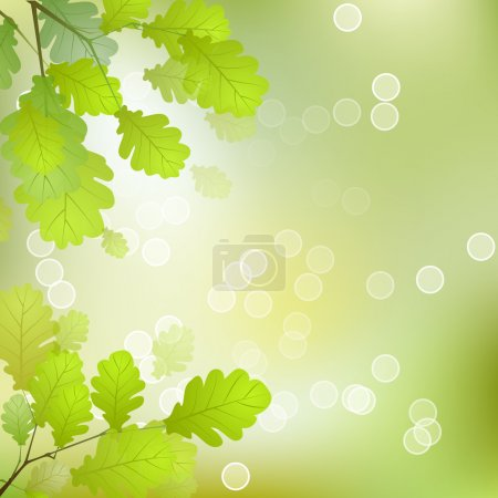 Illustration for Vector Leaves on the Branches in front of a Blurred Background with Bokeh - Royalty Free Image