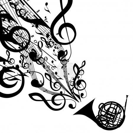 Illustration for Vector Silhouette of French Horn with Musical Symbols. Includes EPS 10 file  and a large more than 15 MP jpg file. - Royalty Free Image