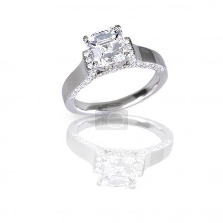 Ascher Cut Solitaire diamond set engagement or wedding ring