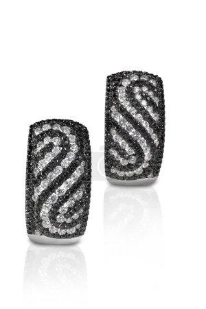 Black and White Diamond  Swirl Earrings