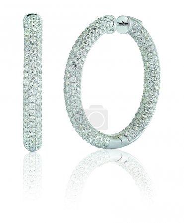 Large Diamond Pave hoop earrings