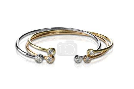 Set of three colored gold and diamond bracelets st...