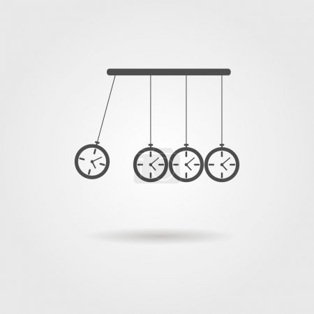 Illustration for Newton's Cradle icon, concept of procrastination. vector illustration - Royalty Free Image