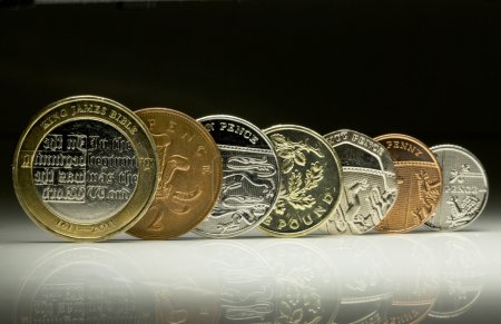 UK currency coins lined up in a row, finance concept