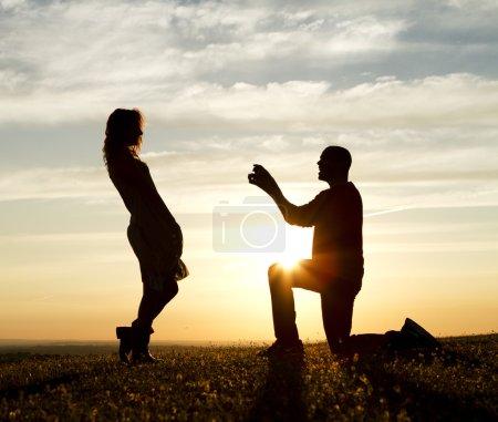 proposition de mariage de Sunset silhouette