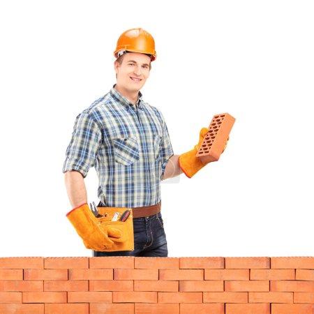 Photo pour Ouvrier masculin avec casque tenant une brique derrière un mur de briques isolé sur fond blanc - image libre de droit