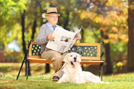 Photo for Senior man seated on a wooden bench reading a newspaper with his dog, in a park - Royalty Free Image