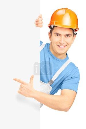 Construction worker with helmet