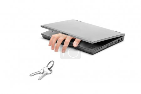 Hand coming out of laptop